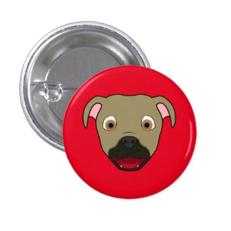 Buckskin Pitbull Face 3 Cm Round Badge