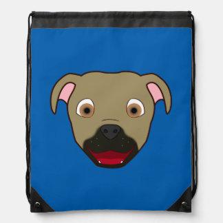 Buckskin Pitbull Face Drawstring Bags