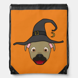Buckskin Pitbull with Witch Hat Drawstring Backpacks