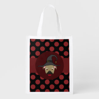 Buckskin Pitbull with Witch Hat & Red Dots