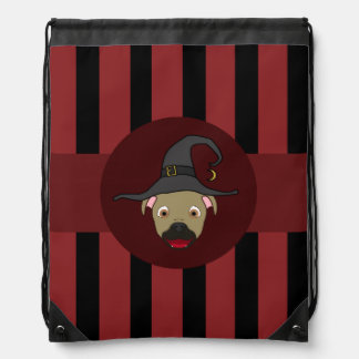 Buckskin PitBull with Witch Hat & Red Stripes Backpacks
