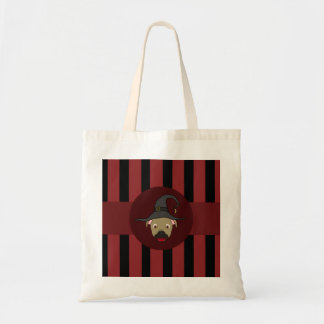 Buckskin PitBull with Witch Hat & Red Stripes Budget Tote Bag