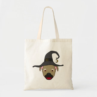 Buckskin Pitbull with Witch Hat Budget Tote Bag
