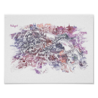 Budapest - Bird's Eye View Map (Purple) Poster