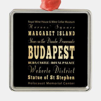 Budapest City of Hungary Typography Art Christmas Ornament