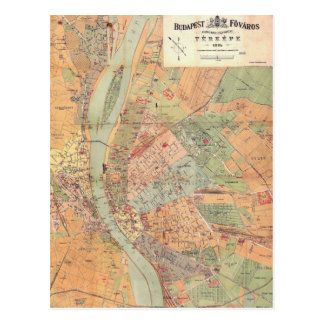 Budapest Hungary Map from 1884 Postcard