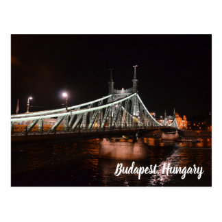 Budapest Hungry Night View Bridge Postcard