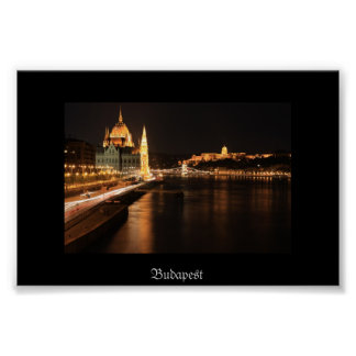 Budapest night from Margit bridge, Parlament, Poster