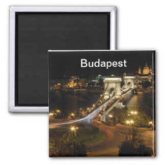 Budapest nightscape square magnet