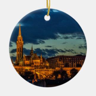 Budapest Picture Round Ceramic Decoration