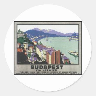 Budapest via Harwich Round Sticker