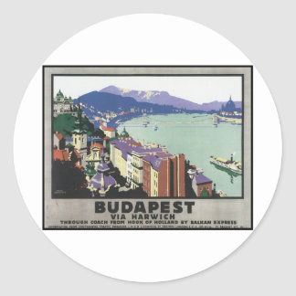 Budapest via Harwich Round Stickers