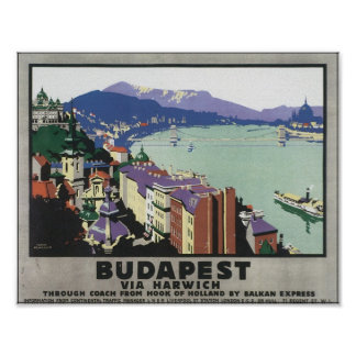 Budapest Via Harwich Vintage Travel Poster