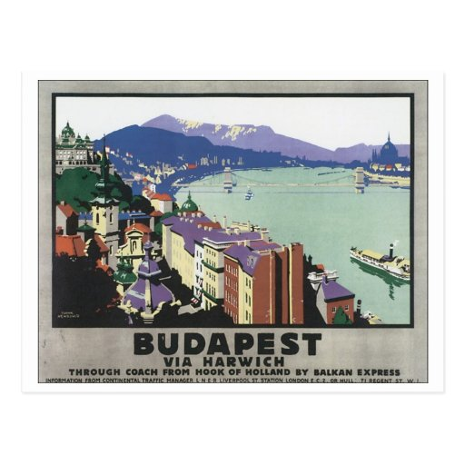 Budapest Via Harwich Vintage Travel Poster Postcards