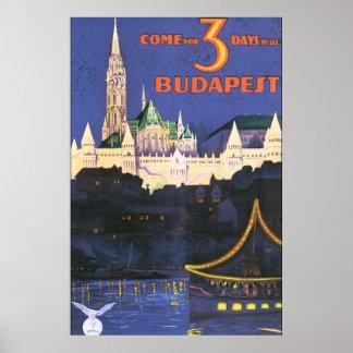 Budapest Vintage Travel Poster