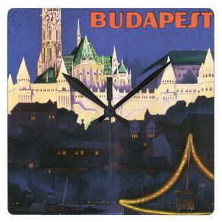 Budapest Vintage Travel Poster Clock