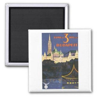 Budapest Vintage Travel Poster Square Magnet