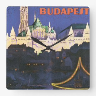 Budapest Vintage Travel Poster Square Wall Clock
