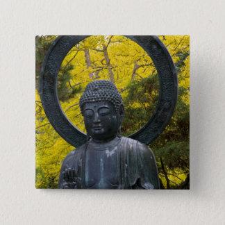 Budda Statue in the Japanese Gardens Golden 15 Cm Square Badge