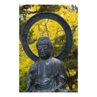 Budda Statue in the Japanese Gardens Golden Photo Print