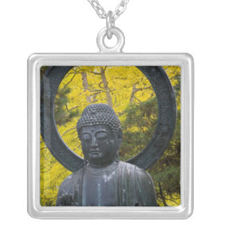 Budda Statue in the Japanese Gardens Golden Silver Plated Necklace