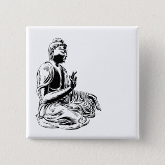 buddha 15 cm square badge