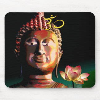 Buddha and Bloomed Lotus and Om mousepad