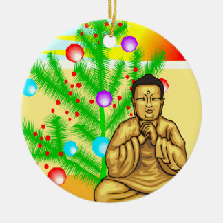 Buddha and Christmas tree Christmas Ornament