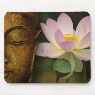 Buddha and flower mouse mat
