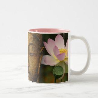 Buddha and flower Two-Tone coffee mug