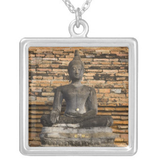 Buddha at Wat Mahathat. Silver Plated Necklace