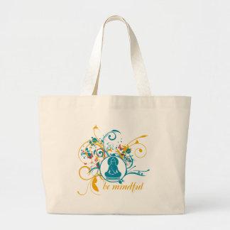 Buddha Be Mindful Large Tote Bag