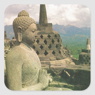 Buddha bell statue, Borobodur temple, Java Square Sticker