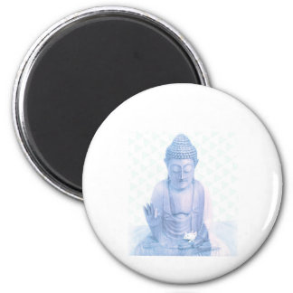 buddha blue and tiny white mouse 6 cm round magnet