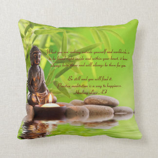 Buddha buddhism zen meditation poem of meditation throw pillow