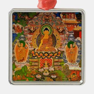 Buddha Buddhist Buddhism Blessing Boho Bohemian Silver-Colored Square Decoration