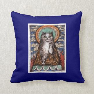 Buddha Cat Throw Pillow