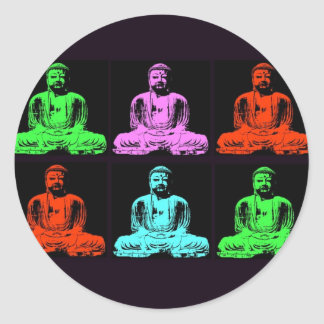 Buddha Collage Round Sticker