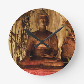 BUDDHA : Copper Statue Round Clock