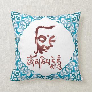 Buddha face and Mantra Throw Pillow