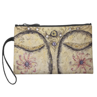 Buddha Face Art Sueded Mini Cosmetic Clutch