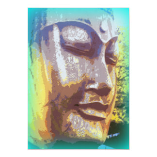 Buddha face green 13 cm x 18 cm invitation card