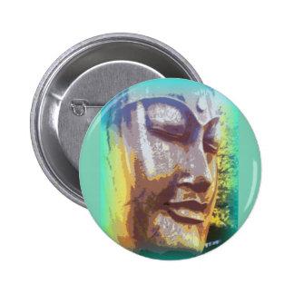 buddha face green 6 cm round badge