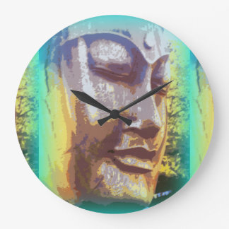 buddha face green large clock