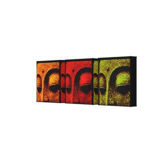 Buddha Faces Triptych Art Canvas Canvas Print