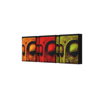 Buddha Faces Triptych Art Canvas Stretched Canvas Prints