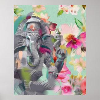 Buddha Ganesha Art print poster