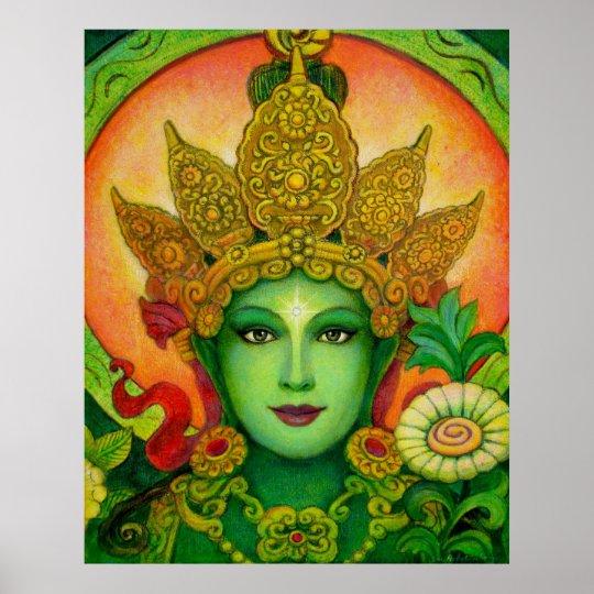 Buddha Goddess Green Tara beautiful art Poster