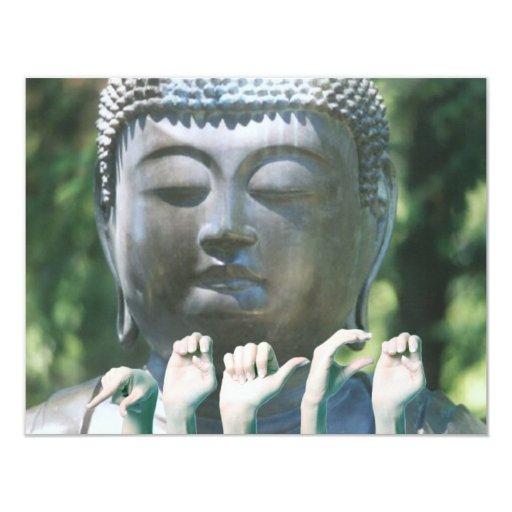 Buddha head & Peace ASL 4.25x5.5 Paper Invitation Card