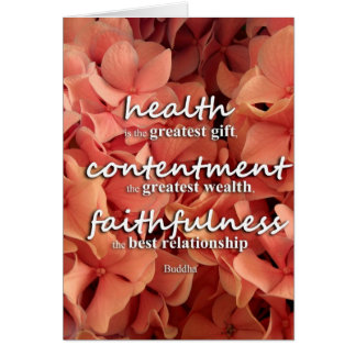 Buddha - health, contentment and faithfulness greeting cards